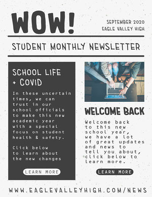 Grey and White Student Monthly Newsletter Newsletter Examples