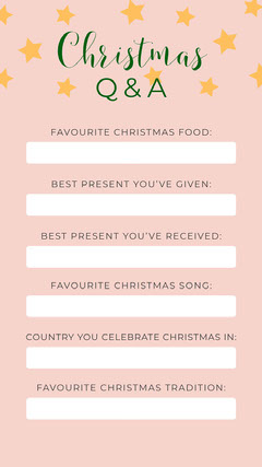 Pink Christmas Food Fill In Quiz Instagram Story Stars
