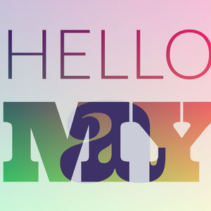 Multicolored Hello May Square Instagram Graphic Typography Poster