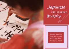 Red and Pink Japanese Calligraphy Workshop Ad with Photo Japan
