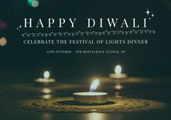 Black and Yellow, Dark Toned, Illuminated Diwali Wishes Card Festival