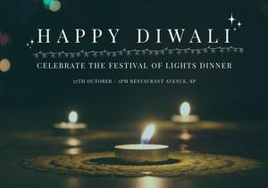Black and Yellow, Dark Toned, Illuminated Diwali Wishes Card Diwali