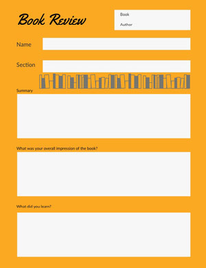 Orange and Grey Empty Book Review Worksheet Worksheet