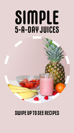 Pink Circular Fruit Photo Juice Recipe Instagram Story Colaboração Remota de Design