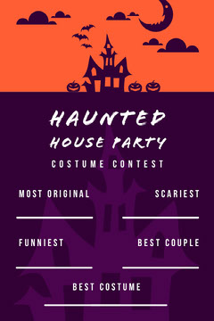 Haunted House Halloween Party Costume Card Halloween Costume Contest