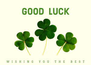 Green and White Good Luck Card Good Luck Card