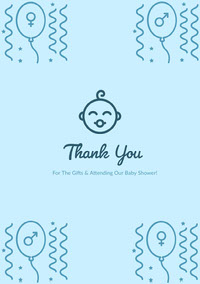 Blue Thank You Card Carte