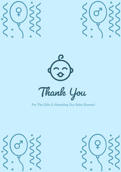 Blue Thank You Card Baby Shower
