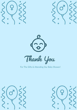 Blue Thank You Card Baby Shower Card