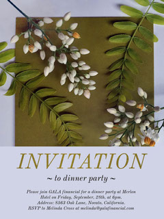 Purple and Green Dinner Party Invitation with Plants Gala Flyer