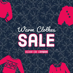 Red and Black Winter Clothing and Fashion Sale Ad Discount