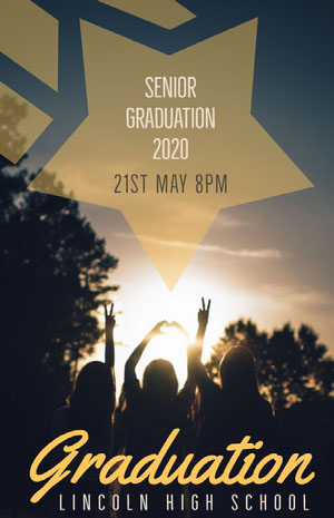 Yellow and Black Graduation Poster Graduation Card