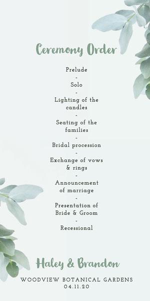 White and Green Foliage Wedding Program Programme de mariage