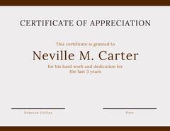Brown Certificate of Appreciation Brown