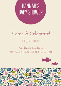Beige and Purple Baby Shower Invitation Baby Shower (Girl)