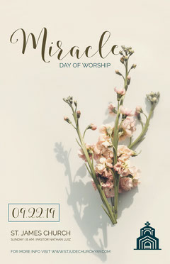 Beige With Flowers Worship Flyer Religion