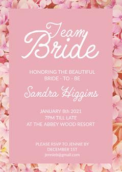 Pink Floral Border Bachelorette Party Invitation Border