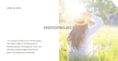 Photography Project Facebook Post Graphic with Woman in Hat in Grass Landscape