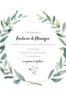 White and Green Wedding Invitation Bryllupskort