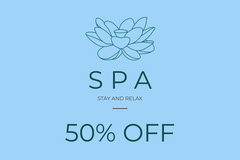 Blue, Minimalistic Spa Offer Ad Facebook Banner Spa
