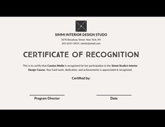 Black and White Interior Design Course Completion Certificate Educational Course