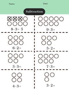 Green Mathematics Subtraction School Worksheet Math