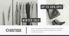 Grey & White Fashion Story Winter Sale Facebook Launch