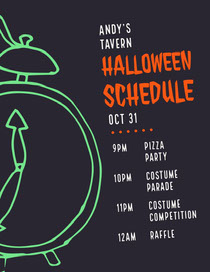 Green Clock Spooky Halloween Party Schedule Scary