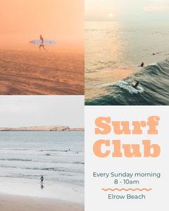 Orange Surf Club Instagram Portrait with Collage Surfing