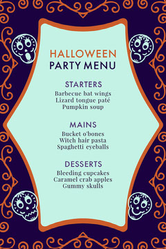 Purple Sugar Skulls Halloween Party Menu Halloween Party Menu