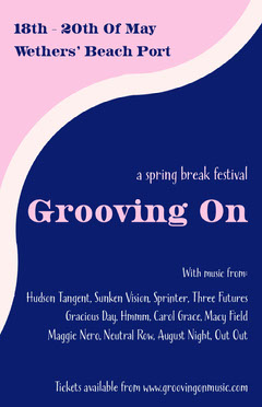 Pink and Blue Spring Break Music Festival Poster Spring