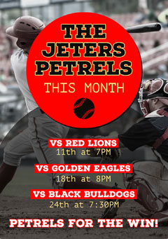 Red And Black Baseball Games Calendar Flyer Sports