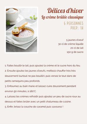 Neutral Creme Brulee Recipe Sheet A5  Fiche de recette