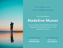 Photography Workshop Certificate of Completion Sunset