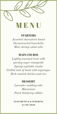 Green Floral Lgbt Wedding Menu Boda
