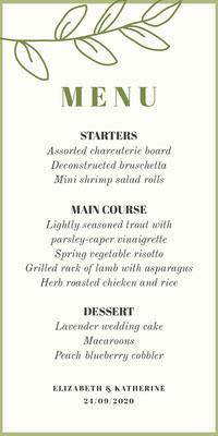 green floral lgbt wedding menu Wedding
