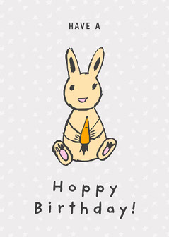 Grey and Orange Have a Hoppy Birthday Card Easter