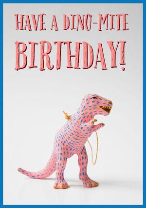 Pink Dinosaur Pun Happy Birthday Card Birthday Card