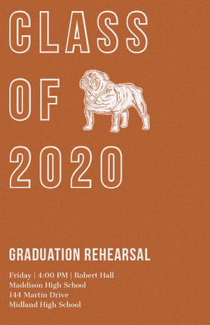 Brown Graduation Rehearsal Poster with Bulldog Mascot Rehearsal Invitation