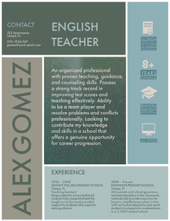 Blue and White English Teacher Resume Teacher