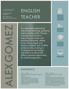 Blue and White English Teacher Resume Professional Resume