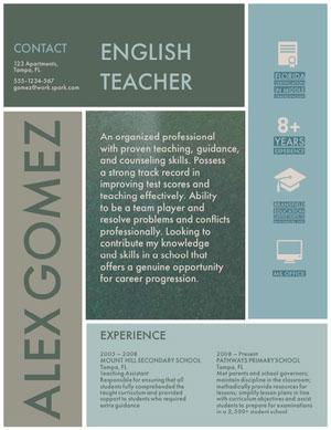 Blue and White English Teacher Resume CV