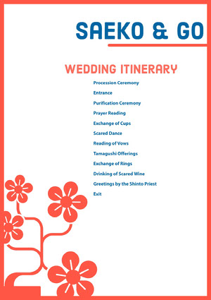 White and Red Wedding Ceremony Program Roteiro de viagem