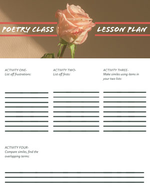 Poetry Class School Lesson Plan with Flower Horario de clase