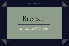 Navy Blue and Blue Breezer 1920s Slang Flashcard  Jazz