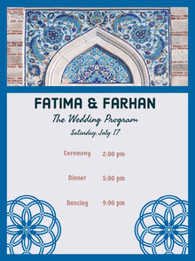 Blue and White Wedding Ceremony Program Wedding Program