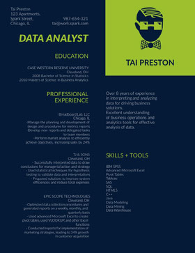 Data Analyst Currículum creativo