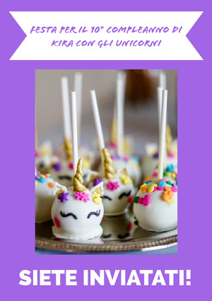 cake pops unicorn birthday cards  Biglietto di auguri con unicorno