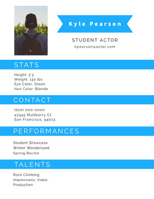 White and Blue Professional Resume Skådespelar-cv