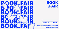 Blue and White, Light Toned, Book Fair Event Ad, Facebook Banner Fairs
